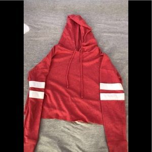 Pink and red pullover thin hoodie